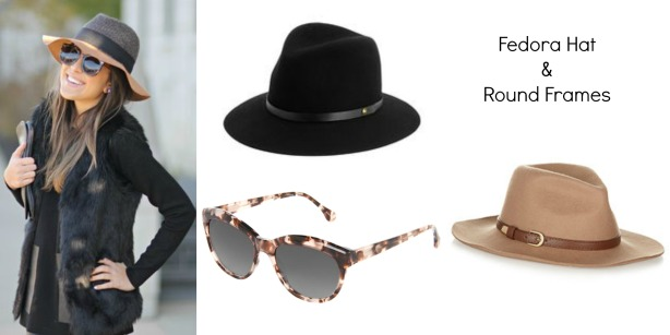 fedora and round frames