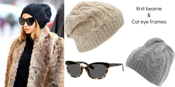 knit beanie and cat eye frames